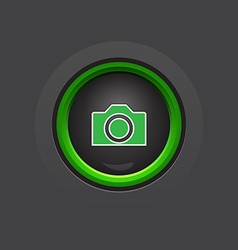 Glossy dark circle photo camera button vector
