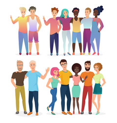 group happy friends people in casual vector image