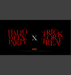 Halloween party and trick or treat logo typeface vector