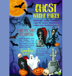 Halloween trick or treat ghost party poster vector