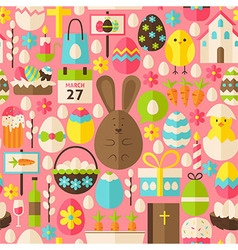 happy easter holiday flat pink seamless pattern vector image