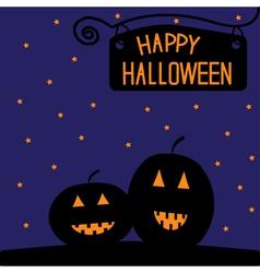 Happy Halloween pumpkin card Starry night vector