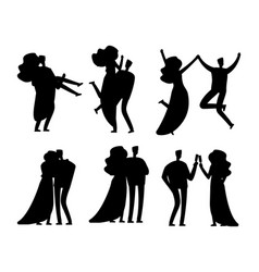 happy married couples silhouettes design vector image