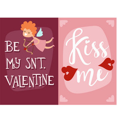 Happy valentines day angel greeting card vector