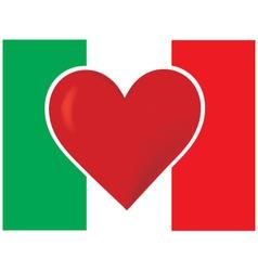 Heart italy flag vector