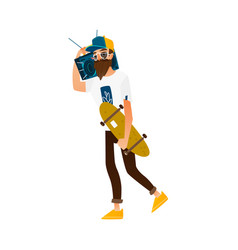Hipster man walking with skateboard and boombox vector