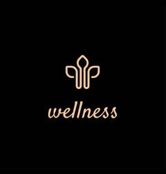 Initial letter w leaf wellness logo design vector