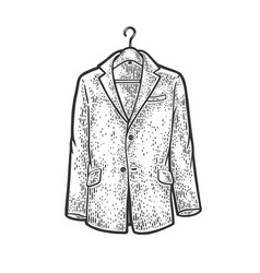 Jacket on clothes hanger sketch vector