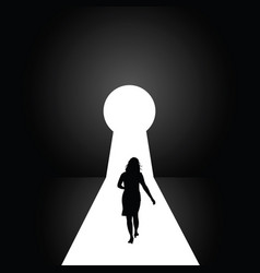 Keyhole with girl silhouette vector