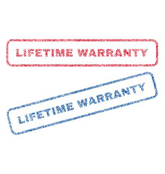 Lifetime warranty textile stamps vector