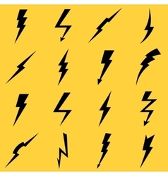 Lightning black icons set vector image