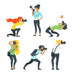 man and woman photographer vector image