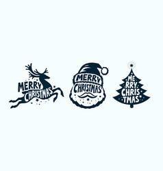 Merry christmas label set xmas symbol vector