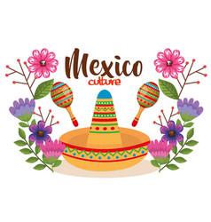 Mexican culture hat and maracas vector