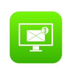 Monitor screen with email sign icon digital green vector
