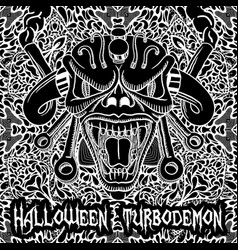 monochrome halloween turbodemon poster vector image