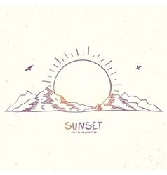 Mountain sunset doodle vector