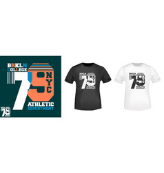 nyc brooklyn college t-shirt print design vector image