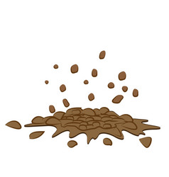 Pile of smashed ground heap of soil - isolated on vector