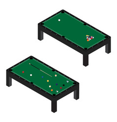 realistic pool table with set billiard balls vector image