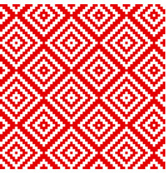 red folk ornament hand drawn seamless pattern vector image