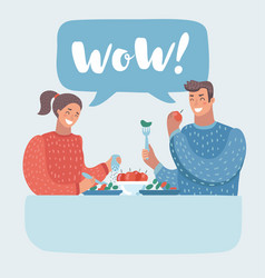 Romantic couple sitting in cafe healhy food vector