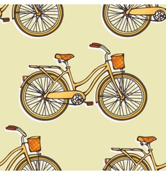 Seamless pattern with hand drawn vintage bicycles vector image
