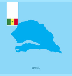 Senegal country map with flag over blue background vector