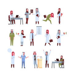 Set arab doctors different poses working process vector
