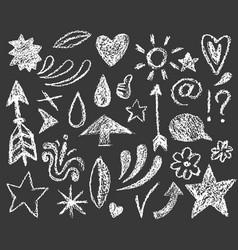 set chalk doodle on dark vector image