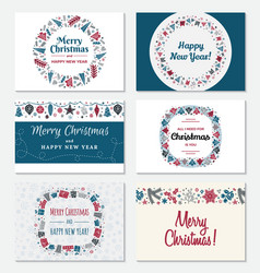 set christmas greeting card vector image