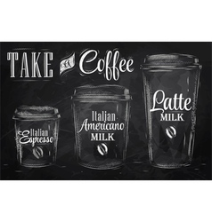 set coffee drinking cup sizes chalk vector image