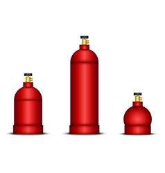 Set gas cylinders various sizes in red vector
