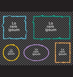 set grunge colorful frames on transparent vector image