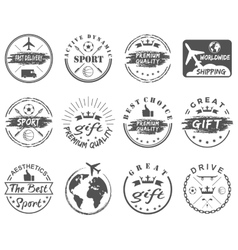 set vintage sports gift emblems vector image