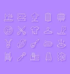 sewing simple paper cut icons set vector image