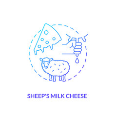 Sheep milk cheese blue gradient concept icon vector