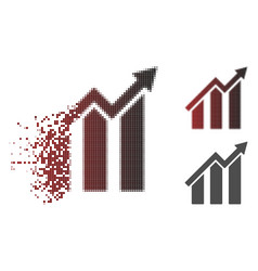 shredded dot halftone growth chart icon vector image