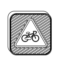 Silhouette square shape road signs with bicycle vector