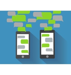 Smartphones with blank speech bubbles vector image vector image