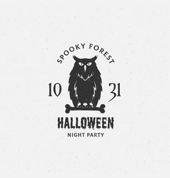 spooky forest halloween label emblem or vector image