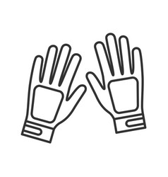 Sport gloves linear icon vector