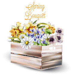spring flowers bouquet in a box watercolor vector image