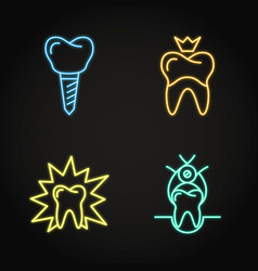 stomatological procedures icon set in neon line vector image