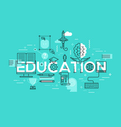 Thin line flat design banner of education web page vector