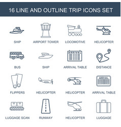 trip icons vector image