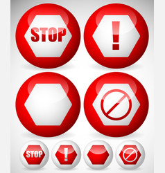 various stop attention or warning signs vector image
