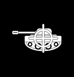 White icon on black background tank at gunpoint vector