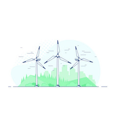 Wind turbines on white background vector
