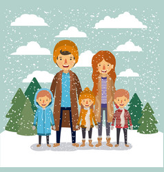 winter people background with family in colorful vector image